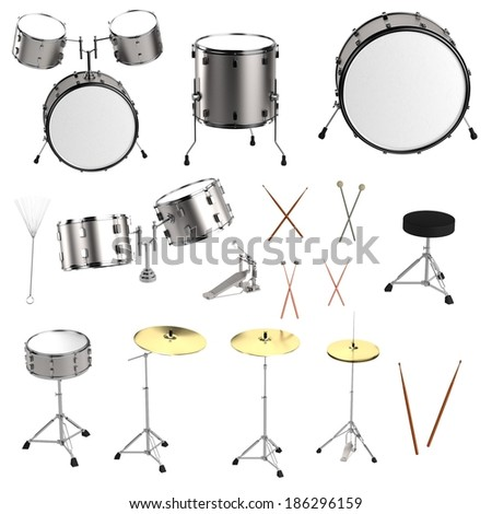 realistic 3d render of drum set - stock photo
