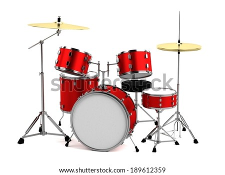 realistic 3d render of drumset - stock photo