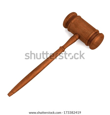 realistic 3d render of gavel - stock photo
