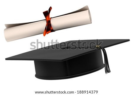 realistic 3d render of graduation cap and diploma