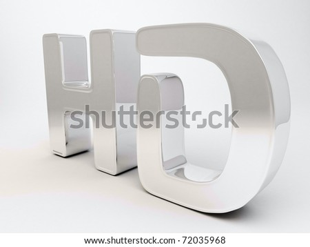Realistic 3d render of HD sign with metallic reflection and white background