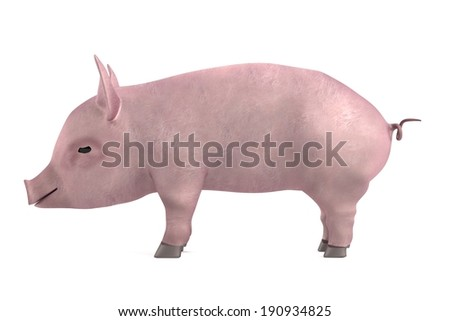 realistic 3d render of little pig