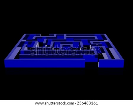 Realistic 3d render of maze - stock photo