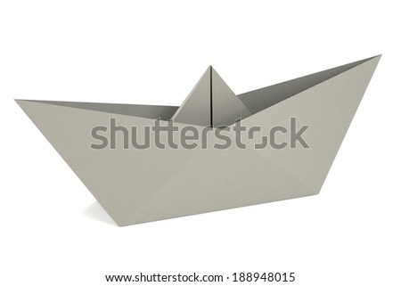 realistic 3d render of origami ship