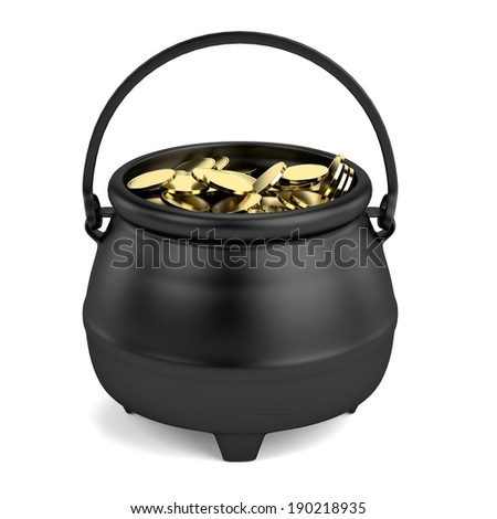 realistic 3d render of pot with money