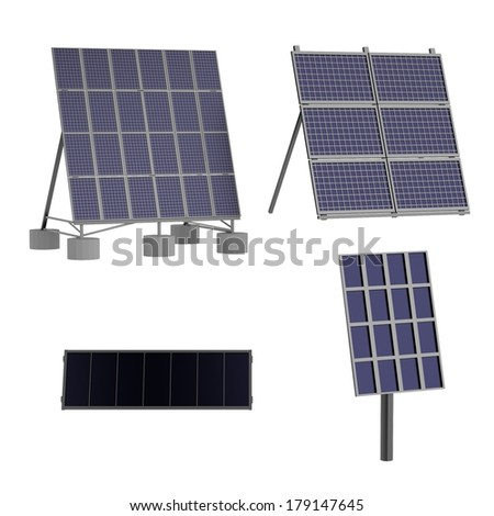 realistic 3d render of solar panels