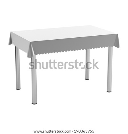 realistic 3d render of table with tablecloth