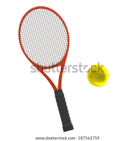 realistic 3d render of tennis racket with ball