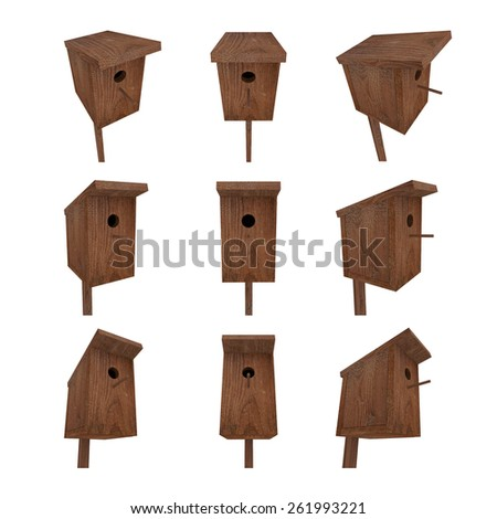 Realistic 3d rendered bird house from nine different angles. - stock photo