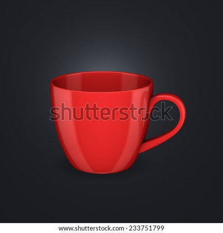 Realistic 3d rendered cup isolated on black background.