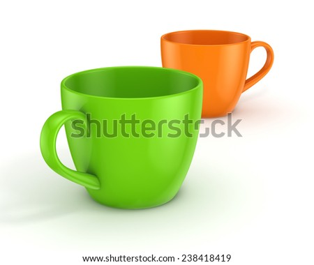 Realistic 3d rendered cups isolated on black background.