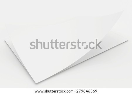 Realistic 3D rendering of blank white sheets paper. - stock photo