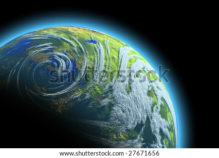 Realistic 3D rendering of the Earth planet isolated on black background (close-up details). - stock photo