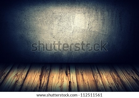 Realistic 3d room with wooden floor and grunge wall for jour concept or projects - stock photo