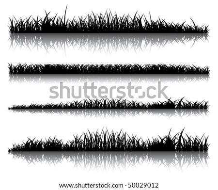 Realistic dark grass on a white background. Several options for illustration.