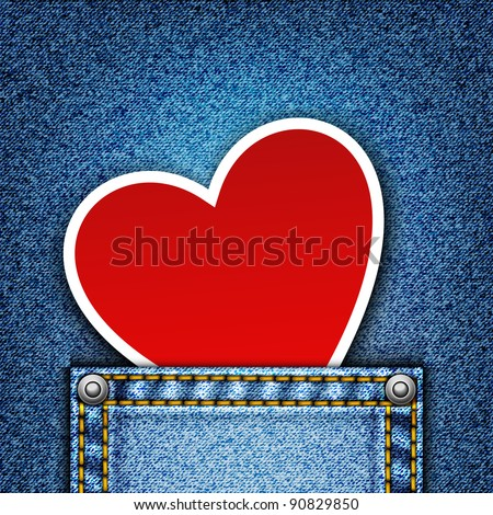 Realistic denim background with heart. Jpeg version. - stock photo