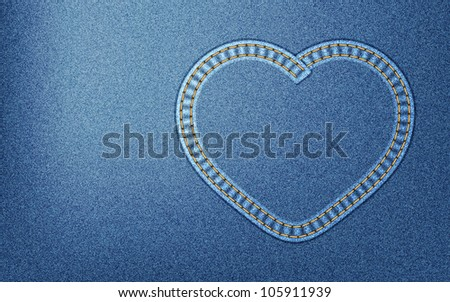 Realistic denim background with heart-shaped seam - stock photo