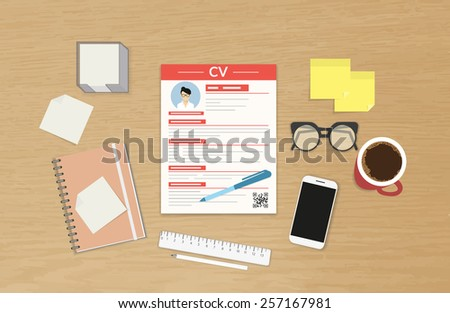 Realistic desktop design with CV template presentation - stock photo
