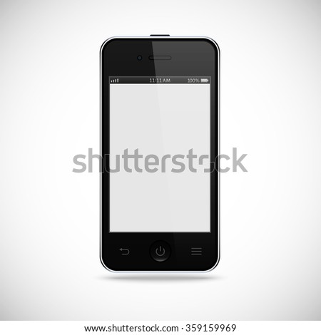 realistic detailed black smartphone with touch screen isolated on the grey background. stock illustration