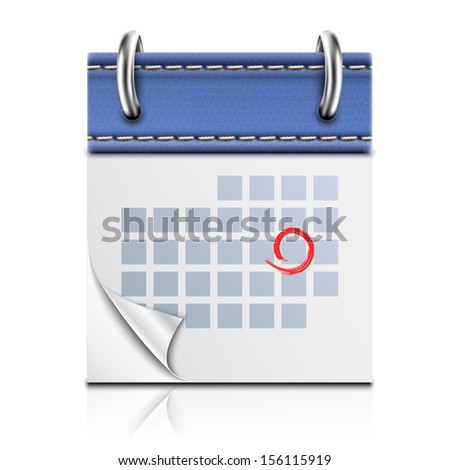 Realistic Detailed Calendar Icon - stock photo