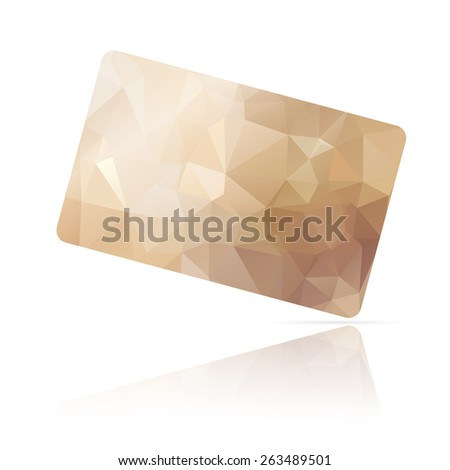 Realistic detailed credit card with beige geometric triangular design isolated on white background. - stock photo
