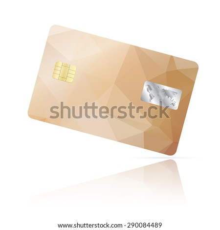 Realistic detailed credit card with geometric beige triangular design isolated on white background
