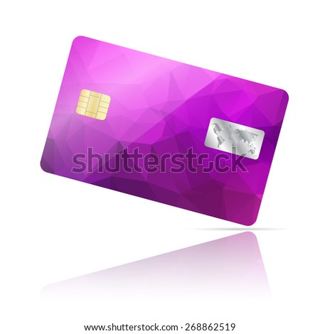 Realistic detailed credit card with geometric purple triangular design isolated on white background - stock photo