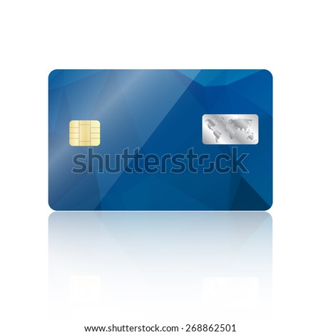 Realistic detailed credit card with geometric triangular blue design isolated on white background - stock photo