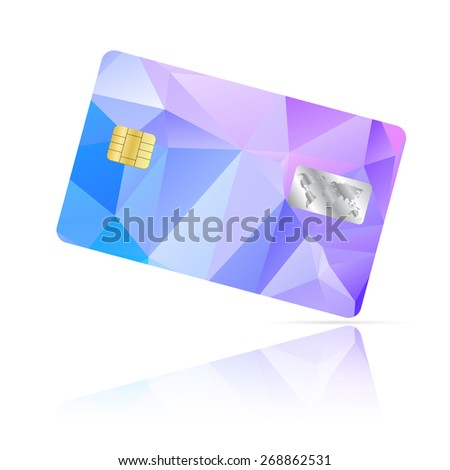 Realistic detailed credit card with geometric triangular colorful design isolated on white background - stock photo