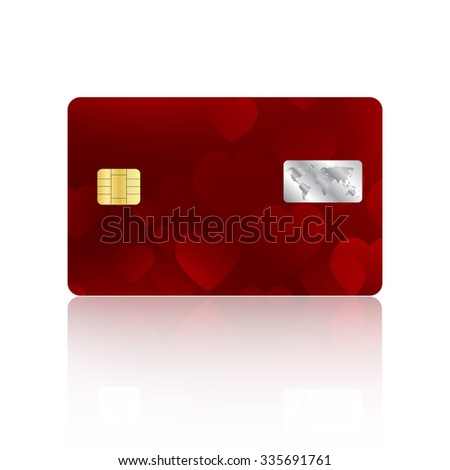 Realistic detailed red credit card with hearts abstract design isolated on white background. Valentine's Day cover for credit card - stock photo
