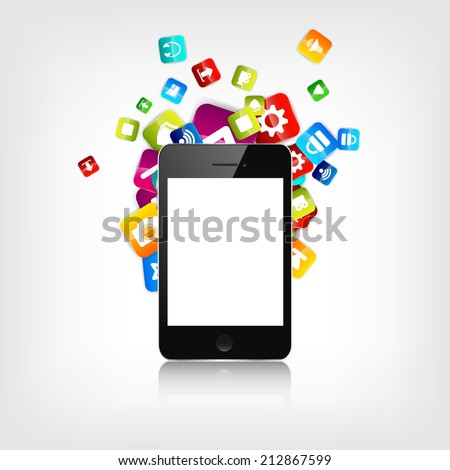 Realistic detalized flat smartphone with application icons.