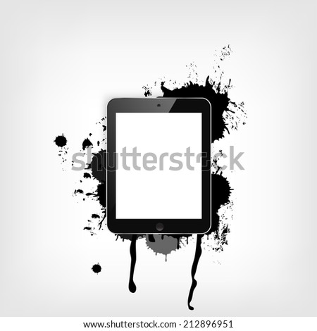 Realistic detalized flat tablet with abstract splashes.