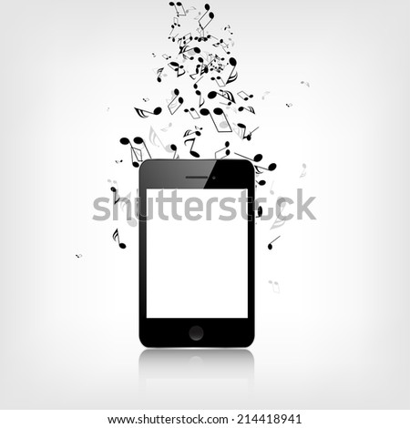 Realistic detalized smartphone with music notes - stock photo