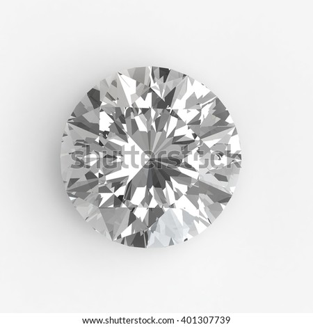 Realistic diamond in top view isolated on white background, 3d illustration. - stock photo