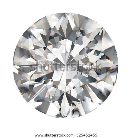 Realistic diamond in top view with caustic and isolated on white background, 3d illustration. - stock photo