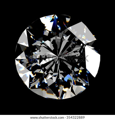 Realistic diamond in top view with caustic light on black background, 3d illustration. - stock photo