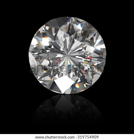 Realistic diamond in top view with caustic on black background, 3d illustration. - stock photo