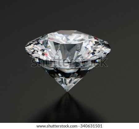 Realistic diamond placed on rough and glossy background with soft reflection, 3d illustration.