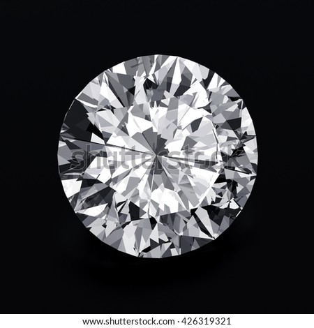 Realistic diamond top view isolated on black background. 3d illustration.