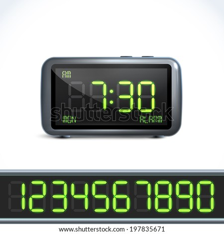 Realistic digital alarm clock with lcd display and numbers  illustration - stock photo