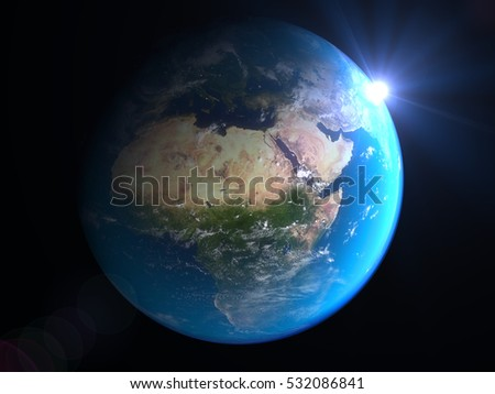 Realistic Earth planet globe with cities nightlights orbiting a fantastic X planet (3d illustration) Elements of this image furnished by NASA