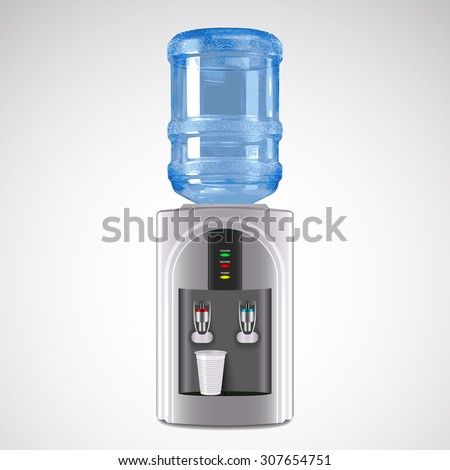 Realistic Electric Water Cooler with plastic glass Illustration. Water cooler logo. Water cooler image. Water cooler icon. Water cooler vector - stock photo