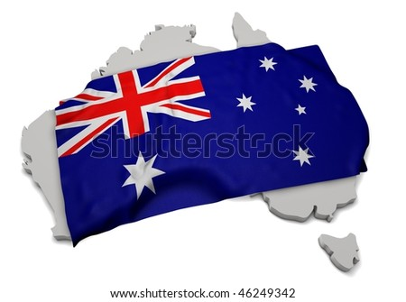 realistic ensign covering the shape of Australia (isolated shape series) - stock photo