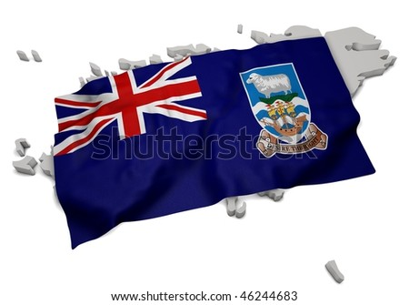 realistic ensign covering the shape of Falklands Islands (isolated shape series) - stock photo