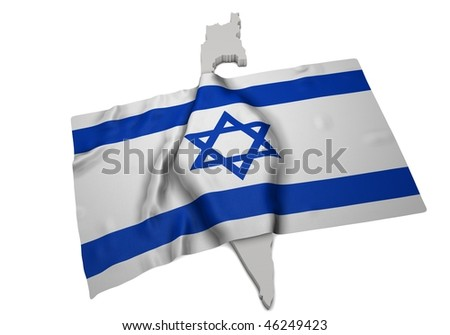 realistic ensign covering the shape of Israel  (isolated shape series) - stock photo