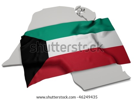 realistic ensign covering the shape of Kuwait  (isolated shape series) - stock photo
