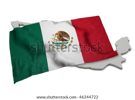 realistic ensign covering the shape of Mexico (isolated shape series)