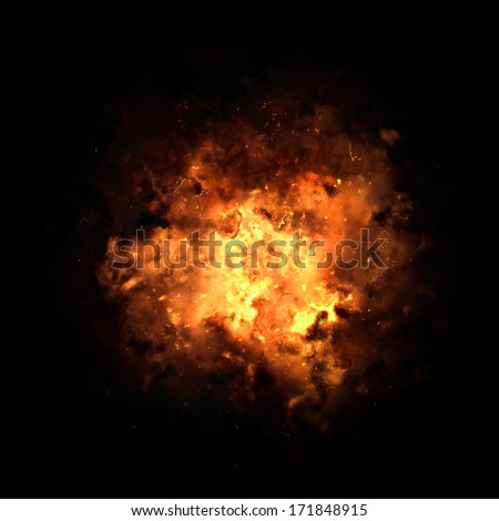 Realistic fiery explosion busting over a black background. - stock photo