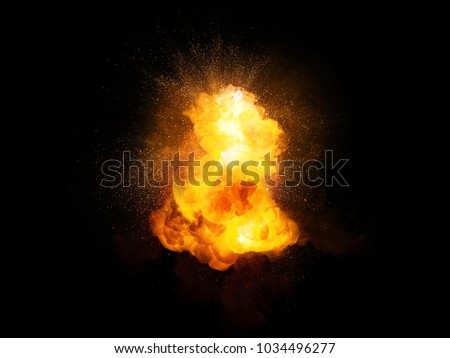 Realistic fiery hot explosion with sparks and smoke isolated on black background