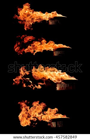 Realistic fire flames burst from the lantern. Set